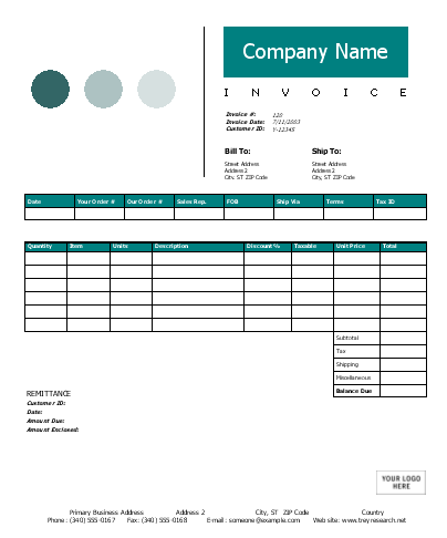 MS Word Invoices – Free Word Design Templates