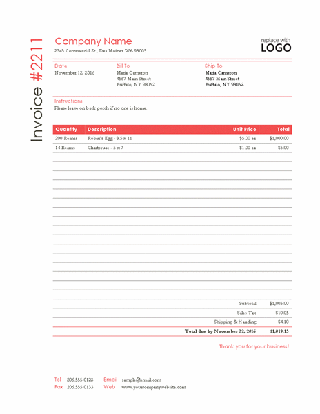 Red Invoice Template in MS Publisher