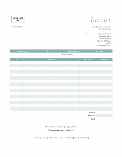 High Quality Simple Invoice Template