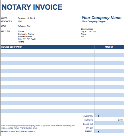 Notary Invoice Template Free Invoice Templates - Free sample invoice for service business