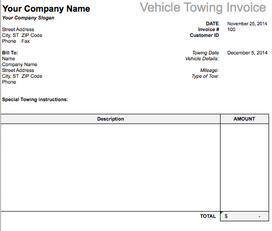 vehicle towing invoice template  u2013 free invoice templates