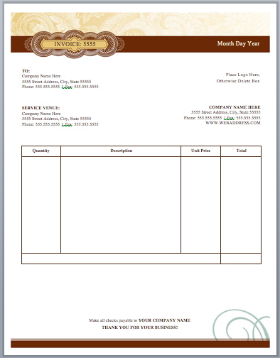 Artist Invoice Template Free Invoice Templates - Makeup artist invoice template free for service business