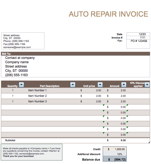 Automobile Invoice Template Geccetackletartsco - Auto repair invoice template microsoft office