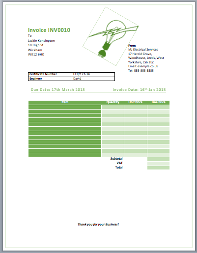 Superb Electrician Invoice Template Intended Electrical Invoice Template