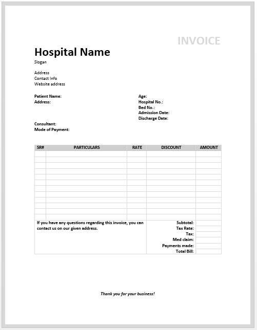 Medical Invoice Template Free Invoice Templates - Patient invoice template