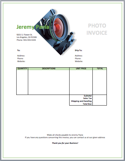 Photography Invoice Template Free Invoice Templates
