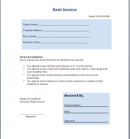 Rent Invoice Template – Rental Receipts Templates