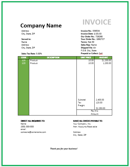 Travel Invoice Template | Free Invoice Templates