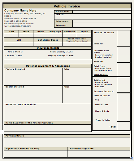 Delightful Vehicle Sales Invoice Template  Auto Invoice Template
