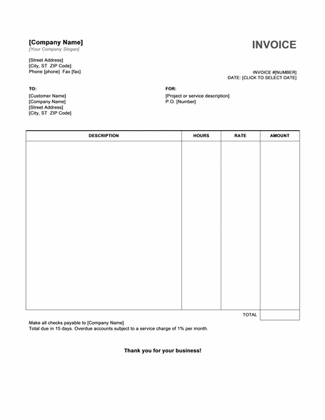 hourly service invoice template free invoice templates