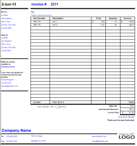 Goods Export Invoice Template