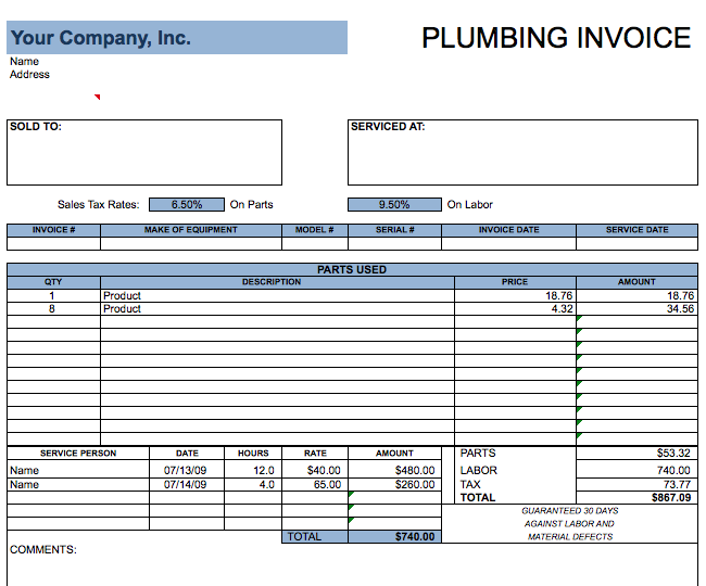 Plumbing Invoice Template Free Invoice Templates
