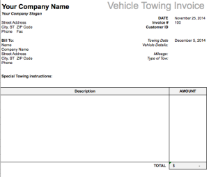 Vehicle Towing Invoice Template