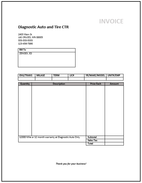 mechanic invoice template  u2013 free invoice templates