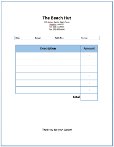 Restaurant Dining Invoice Template