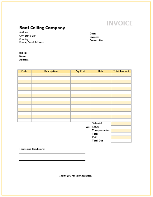 Roof Ceiling Invoice Template Free Invoice Templates