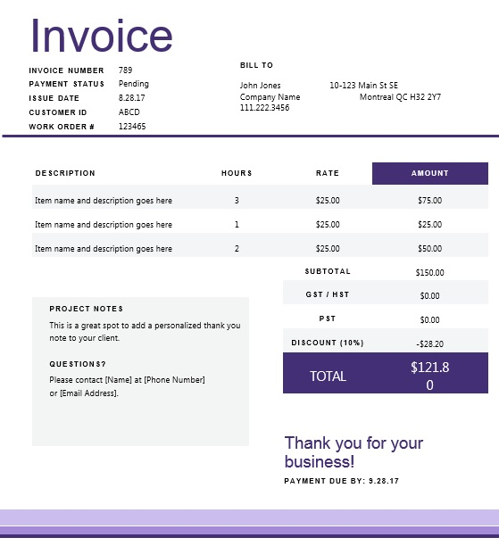 Canadian Invoice Template