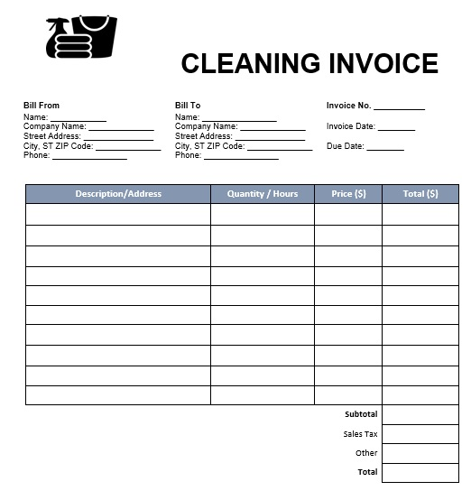 Cleaning Invoice Template