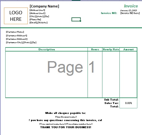 Freelance Writer Invoice Template