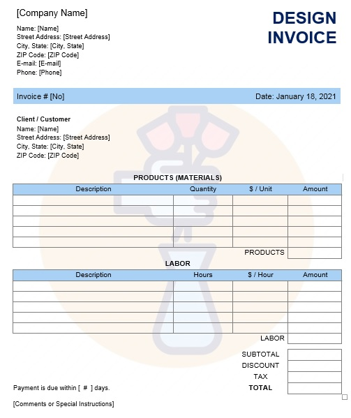 Interior Design Invoice Template