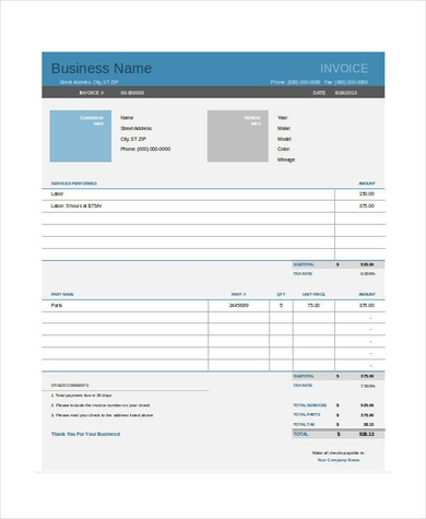 Mechanic Invoice Template