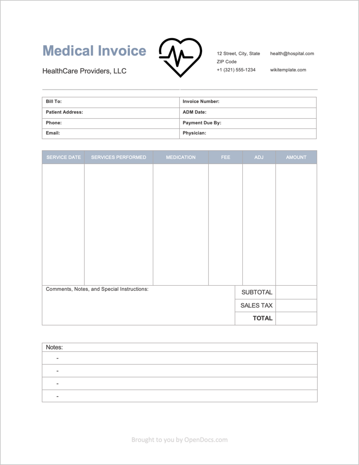 Medical Invoice Template