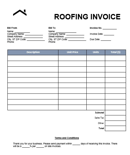 Roof Ceiling Invoice Template