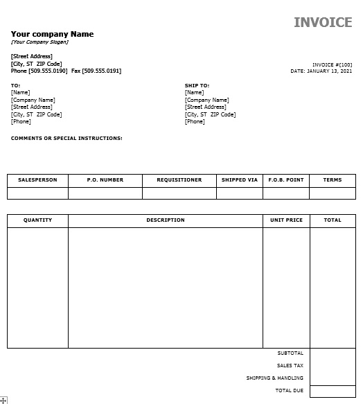 Stock Sales Invoice Template